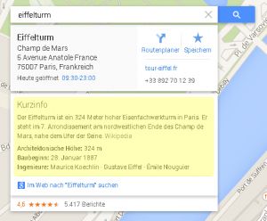 Knowledge Graph in Google Maps