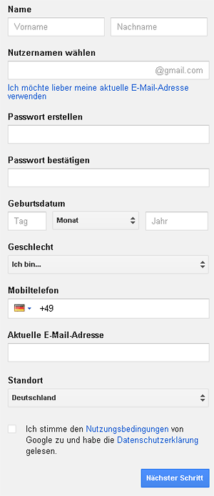 Anmeldung Google-Konto