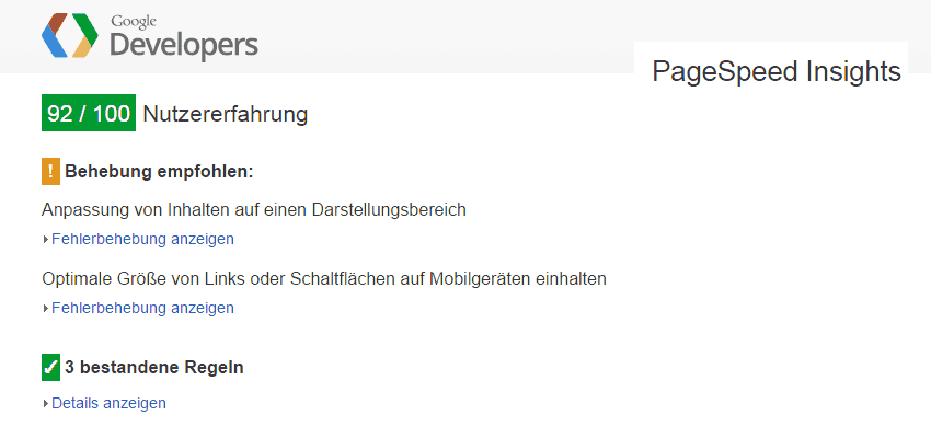 PageSpeed Insights Mobile-Prüfung