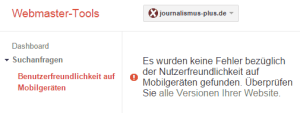 Mobile-friendly-Bericht in den Webmaster-Tools